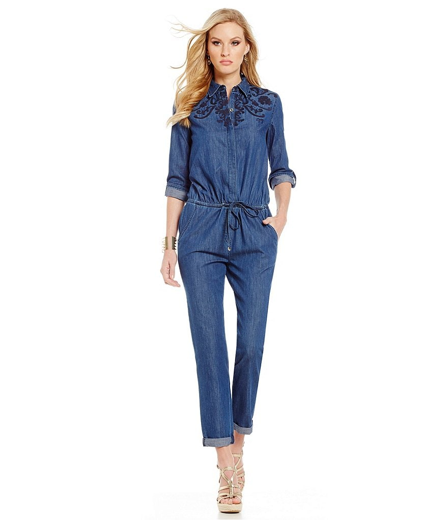 Juicy Couture Embroidered Chambray Jumpsuit