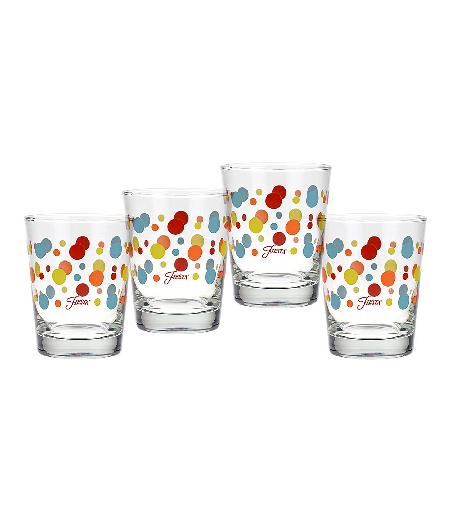 Fiesta Poppy Dots Double Old-Fashioned Glasses, Set of 4