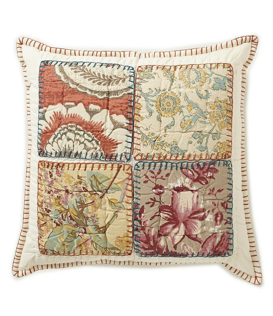 Villa by Noble Excellence Sommerset Floral Patchwork Cotton Square Pillow