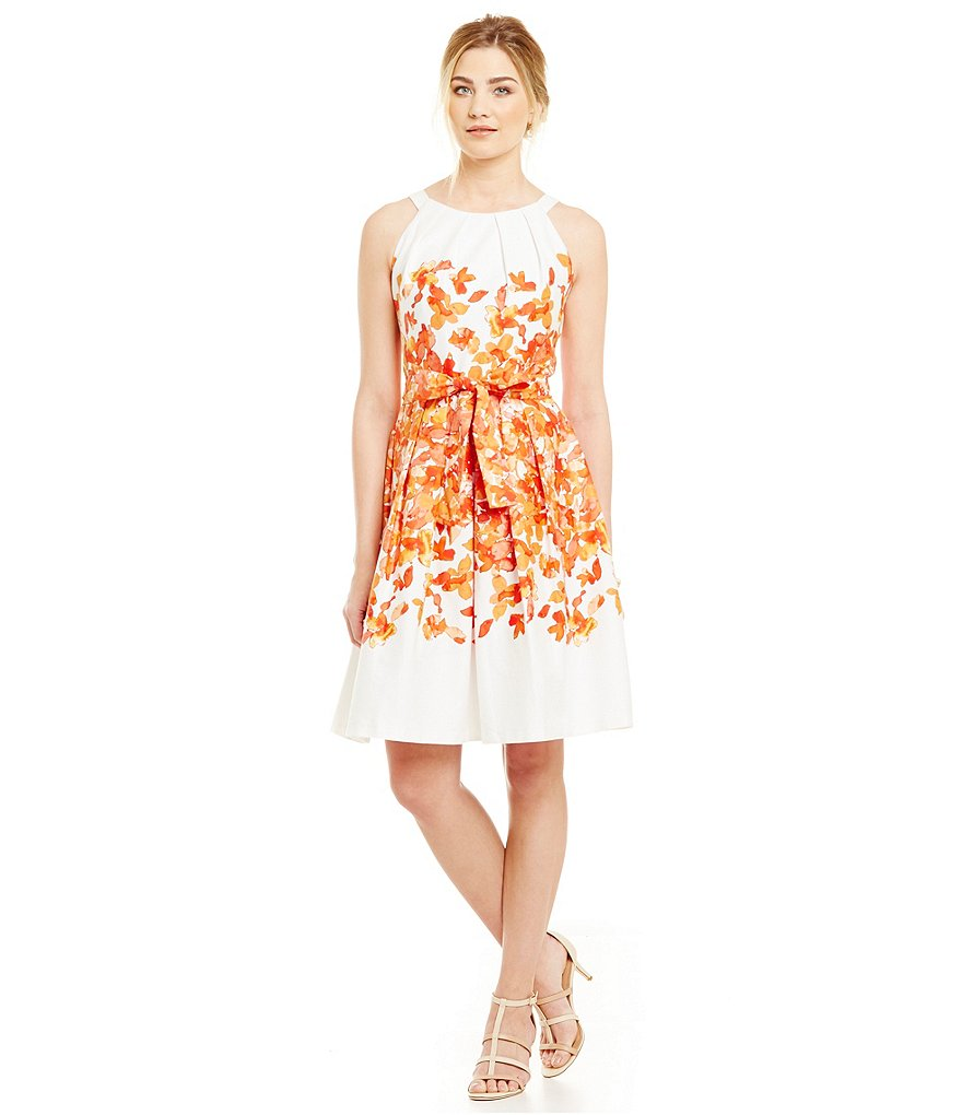 Leslie Fay Pleat Neck Floral Fit-and-Flare Dress