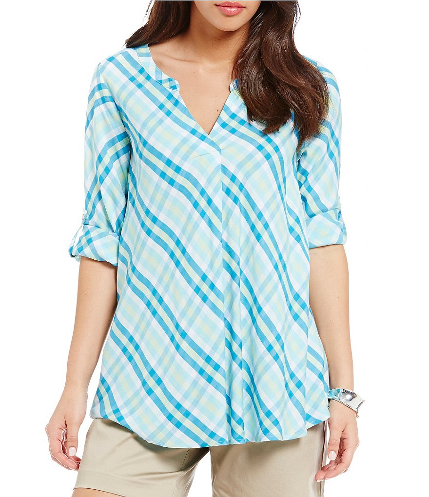 Intro Plaid A-Line Rayon Popover Plaid Top