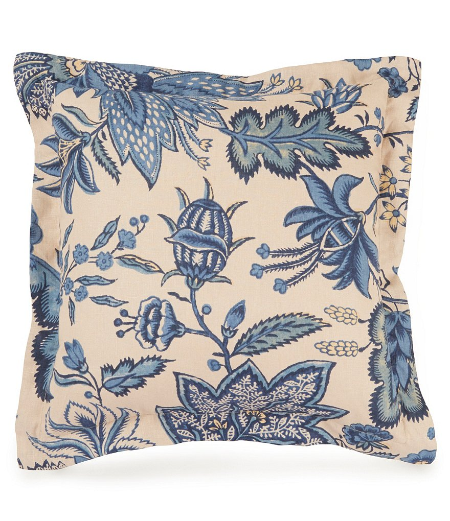 Southern Living Belmont Floral Jacobean Linen Square Pillow