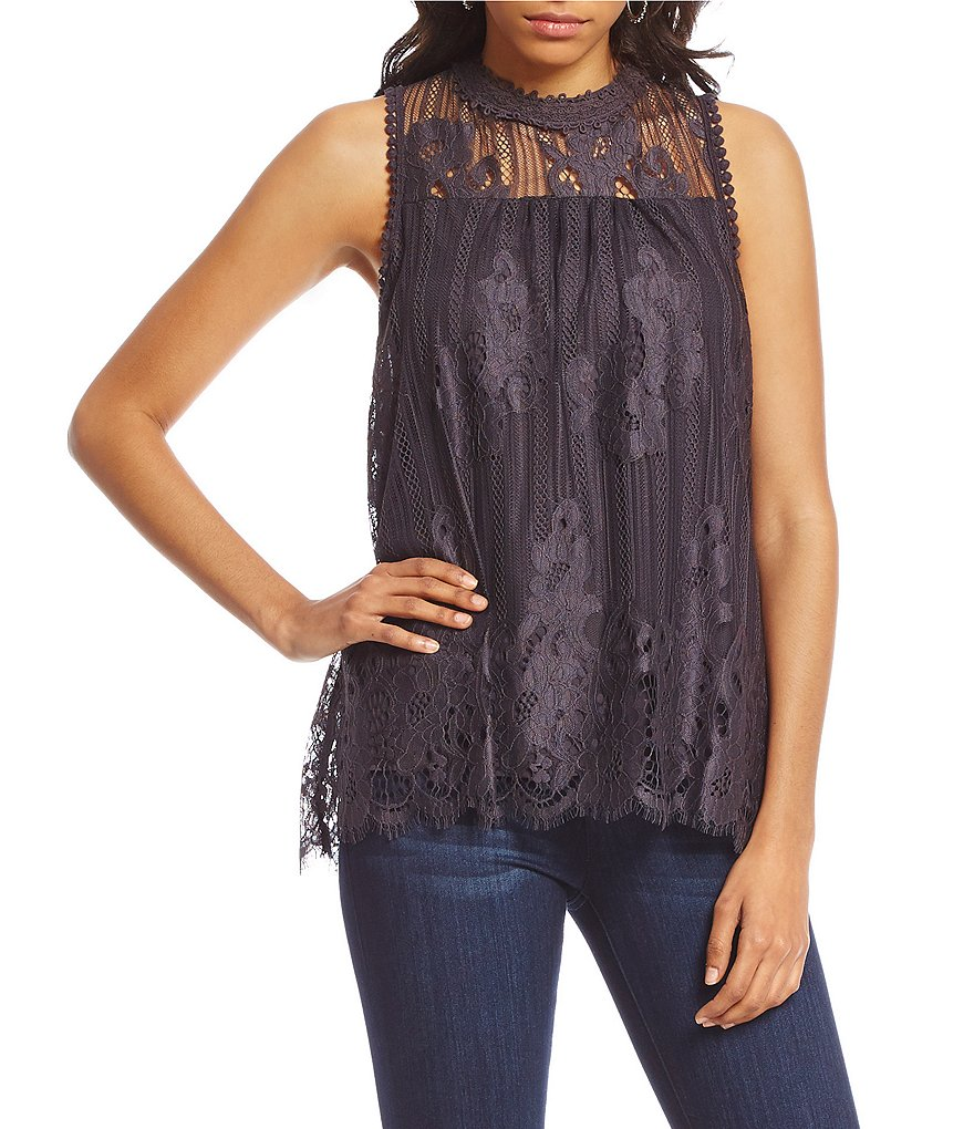 Coco + Jaimeson Vertical-Stripe Lace High-Neck Top