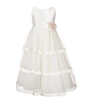Jayne Copeland Little Girls 2T-6X Flower Waist Organza Tiered Dress