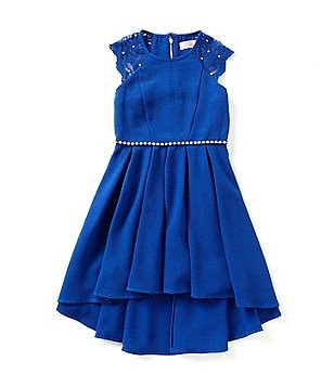 GB Girls Big Girls 7-16 Lace Trim Jewel Dress
