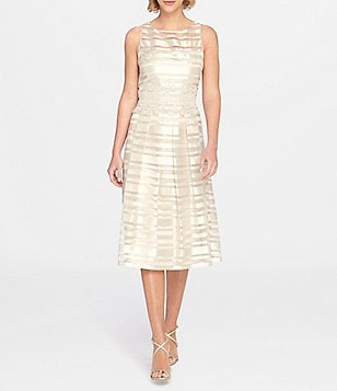 Tahari ASL Burnout Stripe Tea Length Dress