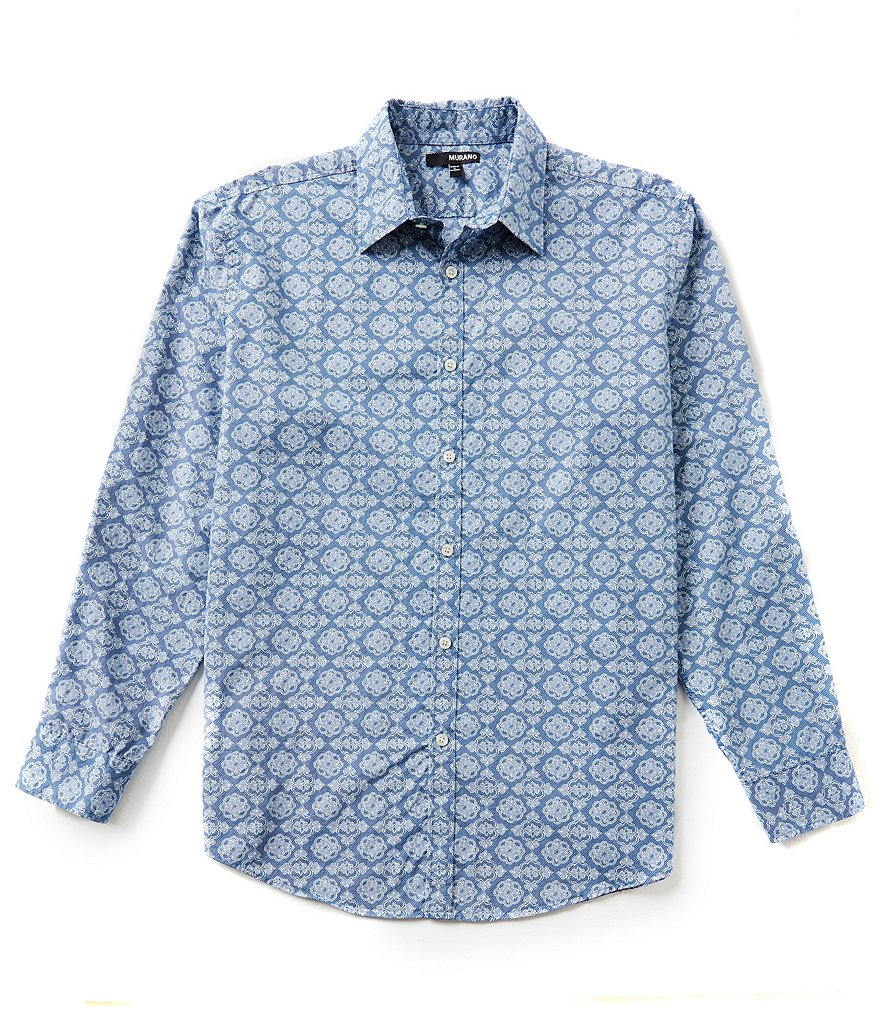 Murano Rolled-Sleeve Medallion Print Sportshirt