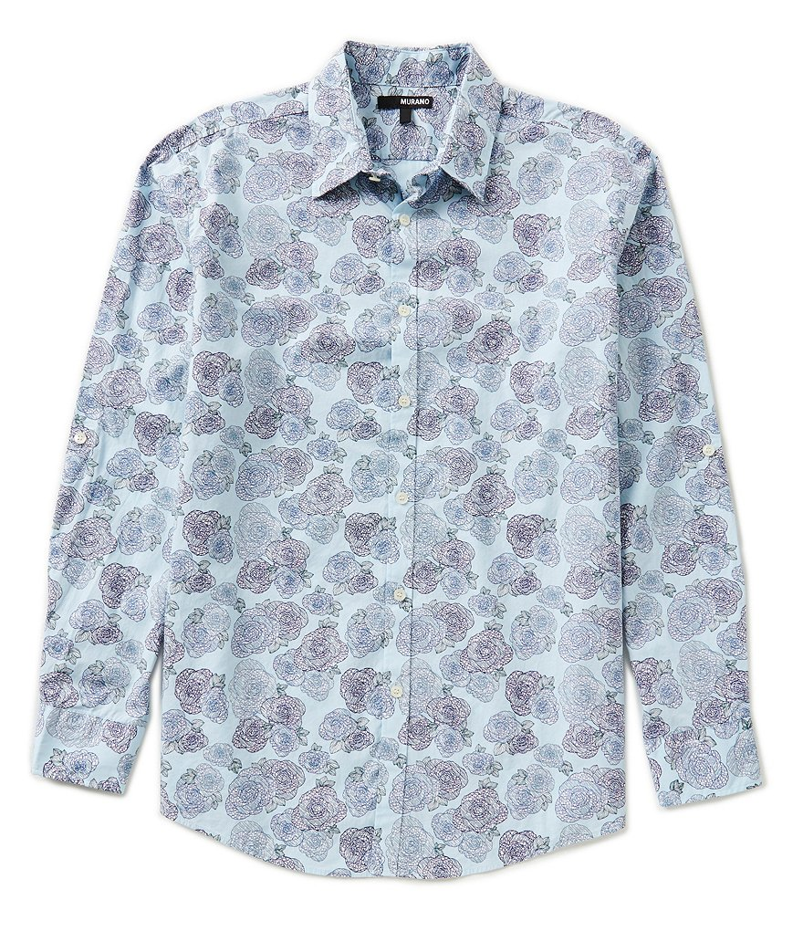 Murano Rolled-Sleeve Floral Print Sportshirt