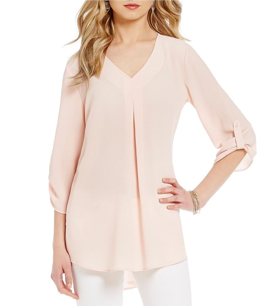 Bobeau V-Neck Pleat Front 3/4 Sleeve Tunic