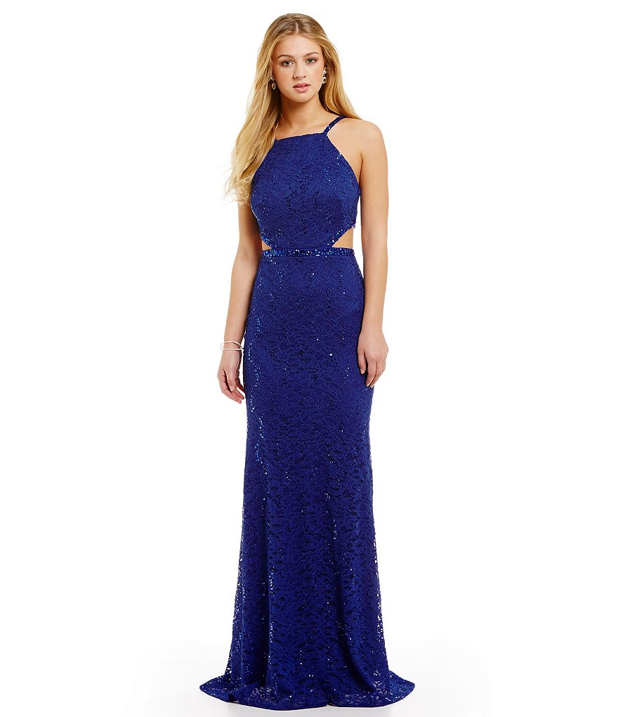 B. Darlin Sequin Lace Cut-Out Waist Long Dress