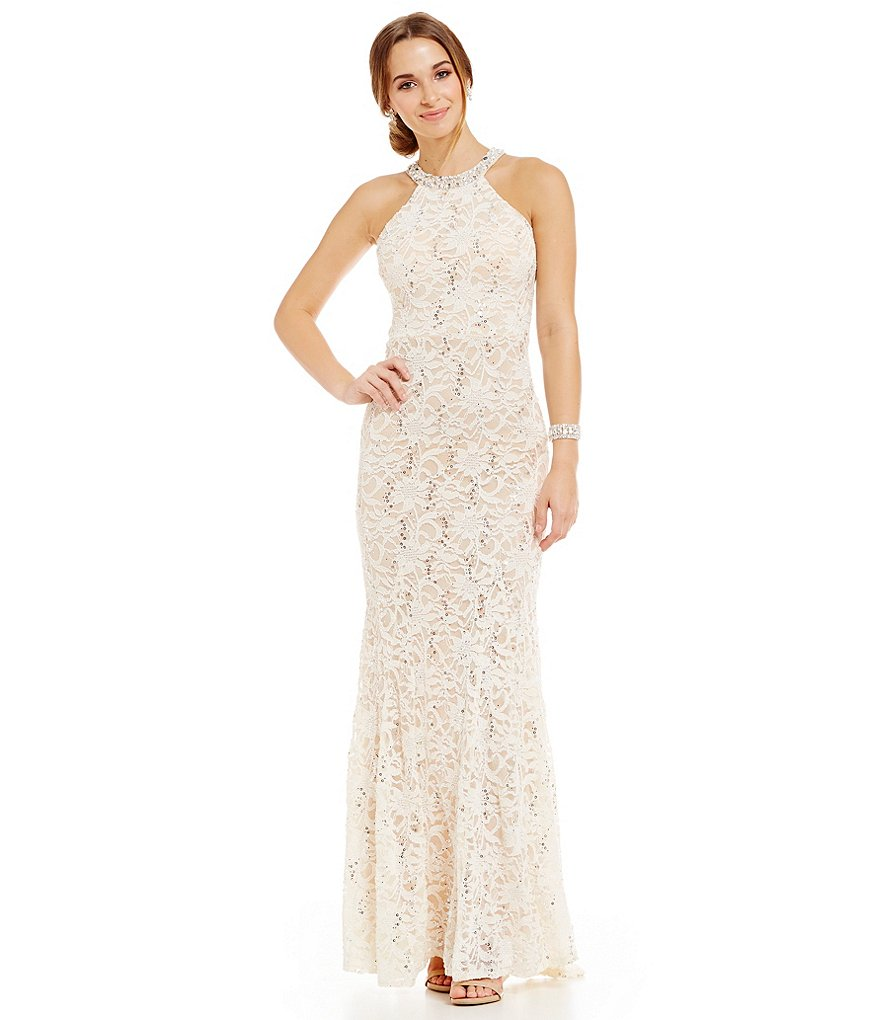 B. Darlin Beaded High-Neckline Sequin Lace Long Dress