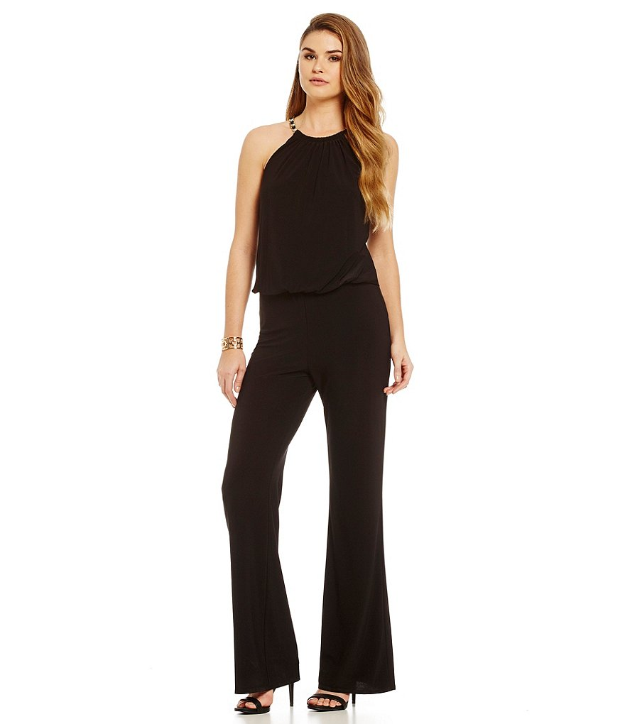 Laundry By Shelli Segal Chain-Neck Blouson Jumpsuit
