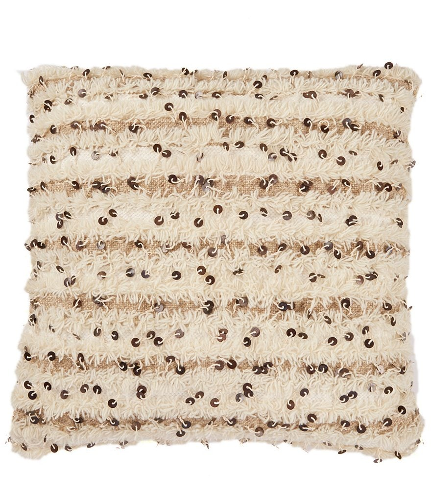 Southern Living Moroccan Wedding Sequined Fuzzy Square Pillow