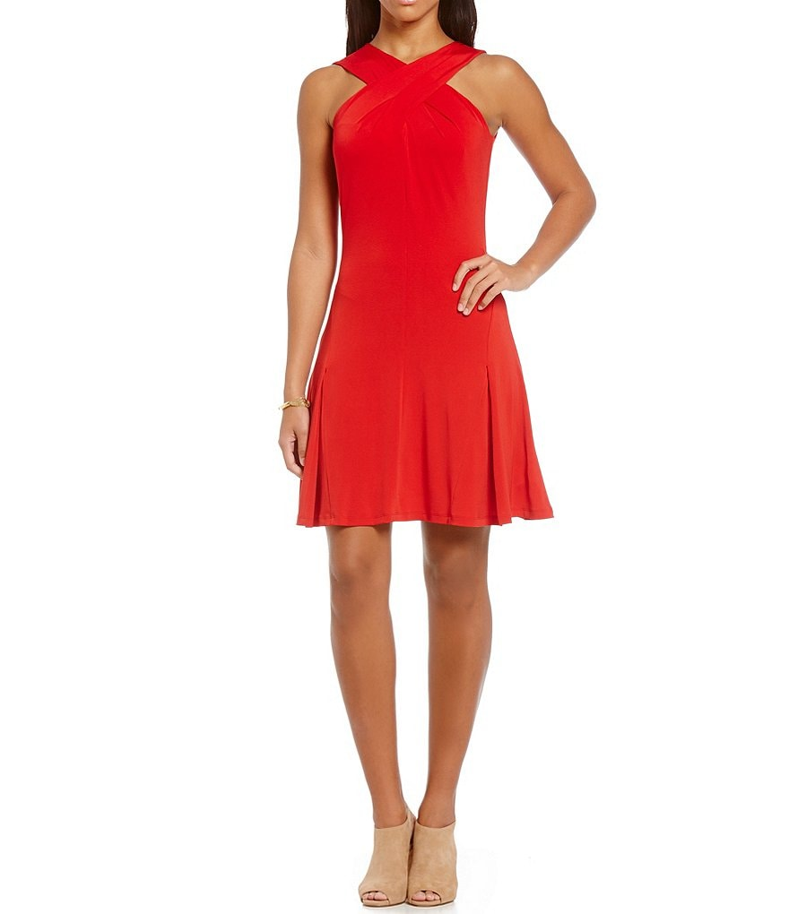MICHAEL Michael Kors Halter Cross-Over Neck A-Line Dress