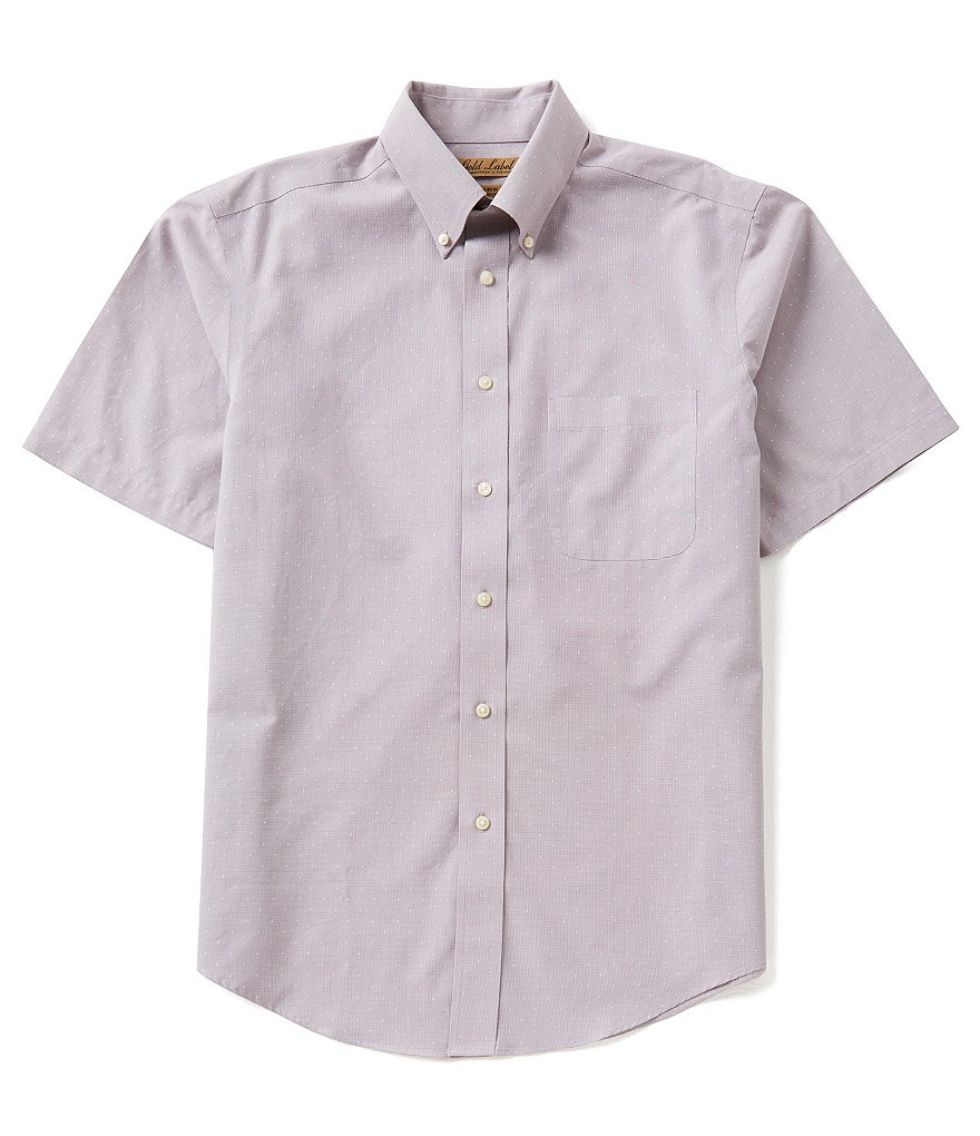 Gold Lable Roundtree & Yorke Short-Sleeve Dobby Microcheck Perfect Performance Sportshirt