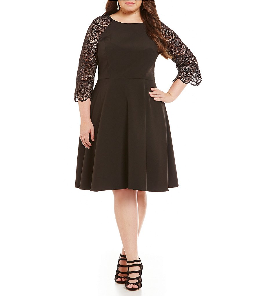 London Times Plus Lace-3/4 Sleeve Fit-and-Flare Dress