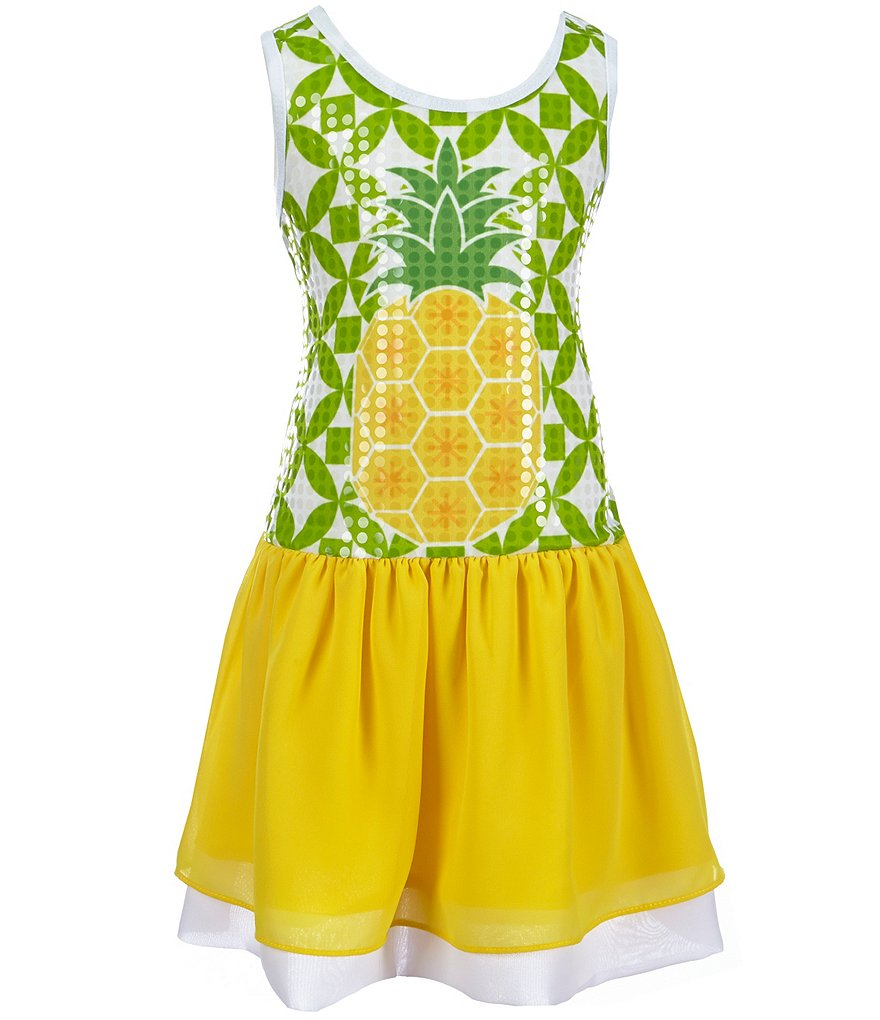 Bonnie Jean Little Girls 2T-6X Sequined-Pineapple Chiffon-Skirted Dress