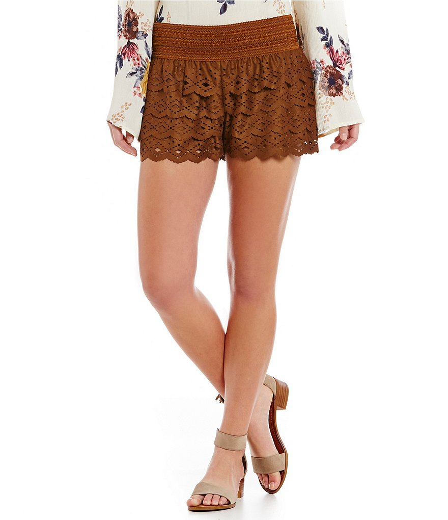 Jolt Laser-Cut Tiered Faux-Suede Shorts