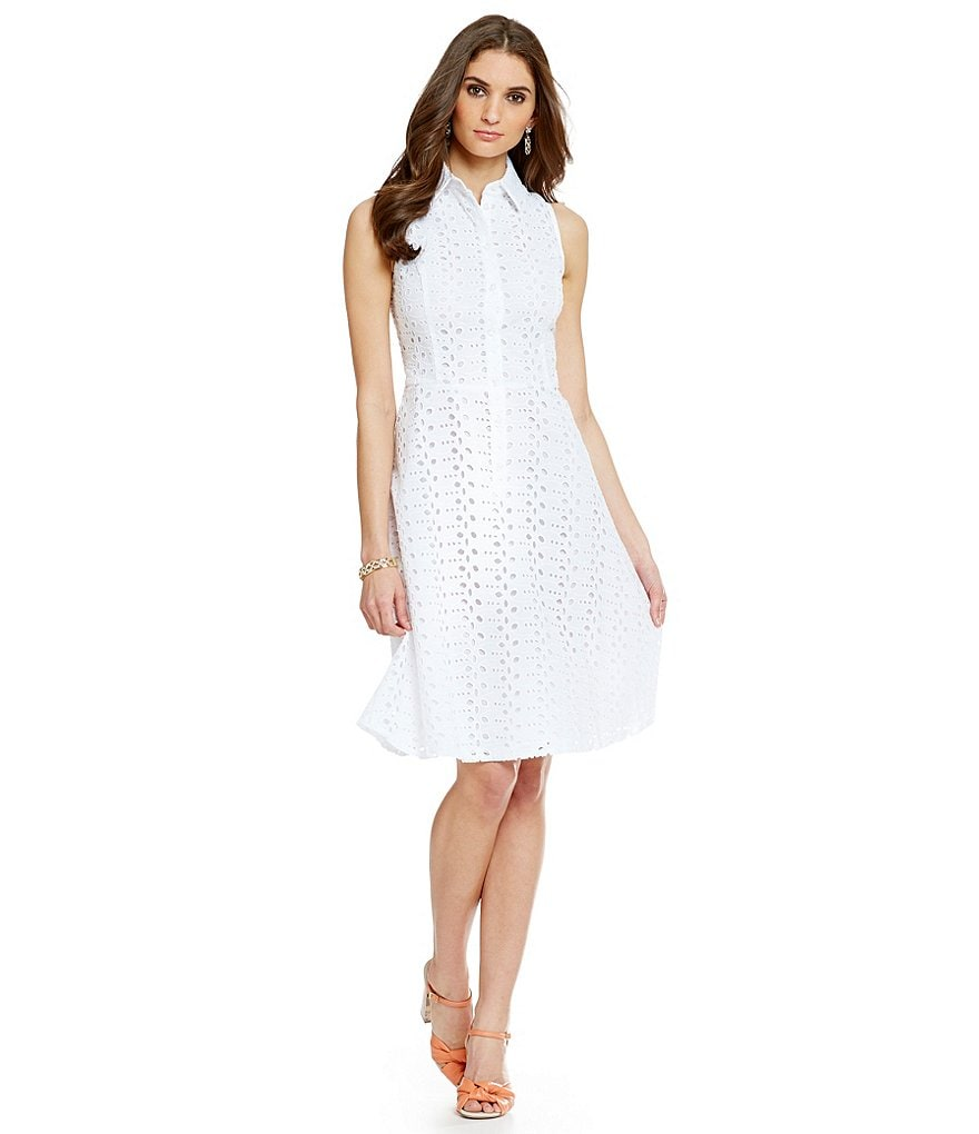 London Times Eyelet Fit-and-Flare Dress