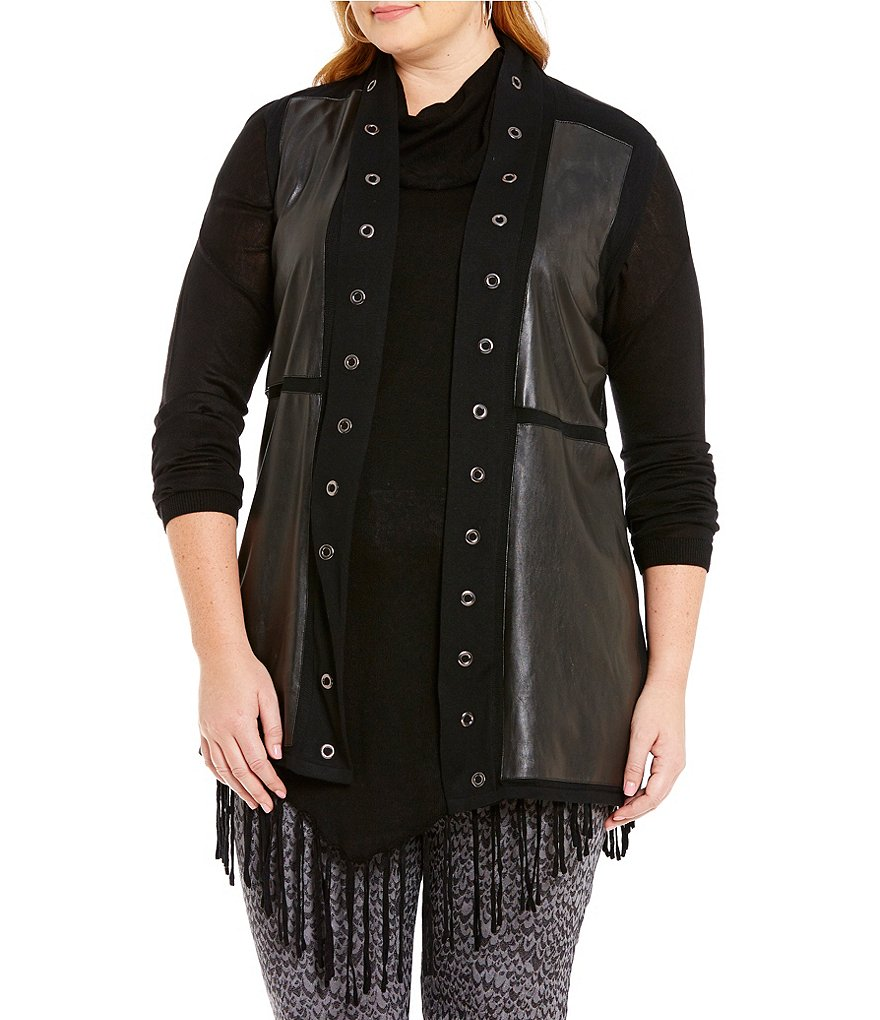 Peter Nygard Plus Shawl Collar Quilted Faux-Leather Vest