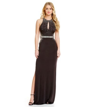 0638a1be8d1 B. Darlin Cut Out Back Embellished Illusion Sides Slit Gown