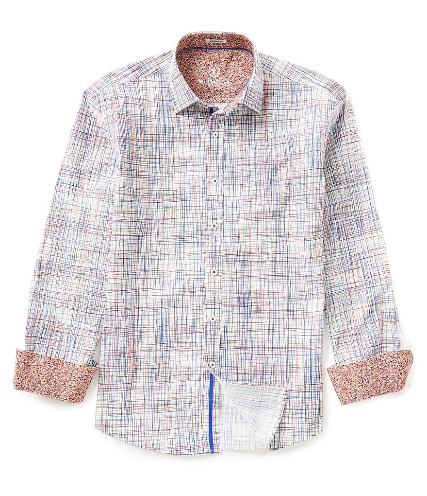 Bugatchi Long-Sleeve Shaped-Fit Printed Woven Shirt