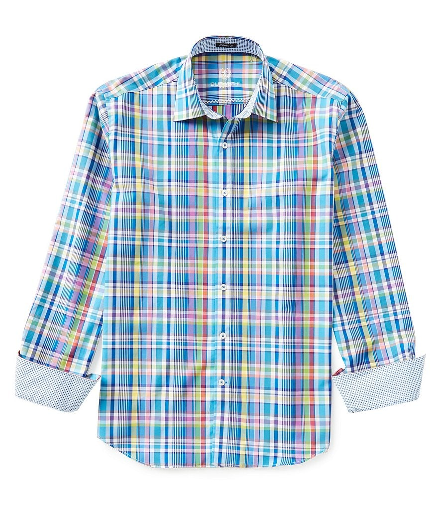 Bugatchi Long-Sleeve Classic-Fit Woven Plaid Shirt