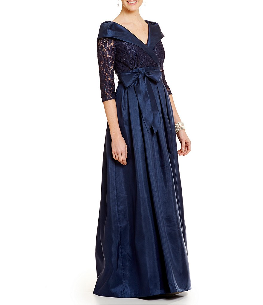 Jessica Howard Portrait-Collar Taffeta Ballgown