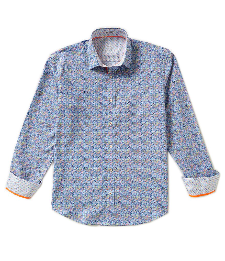 Bugatchi Long-Sleeve Shaped-Fit Repeating Floral Print Woven Shirt