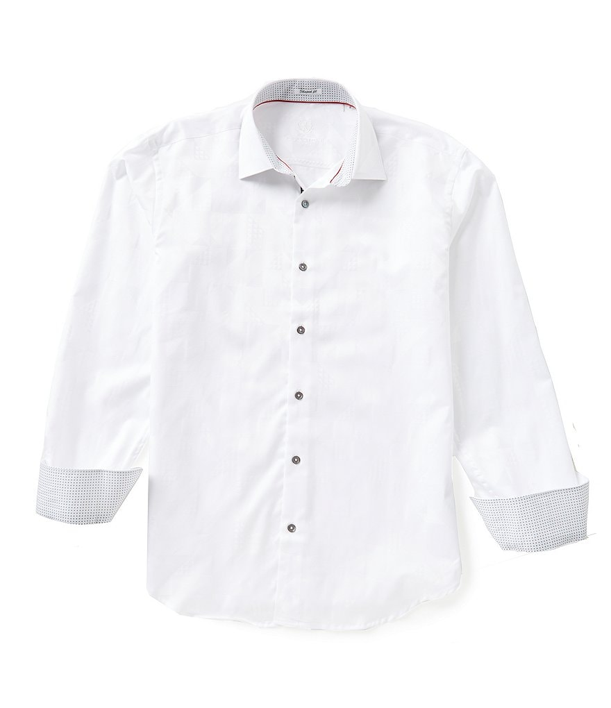 Bugatchi Long-Sleeve Shaped-Fit Solid Woven Shirt