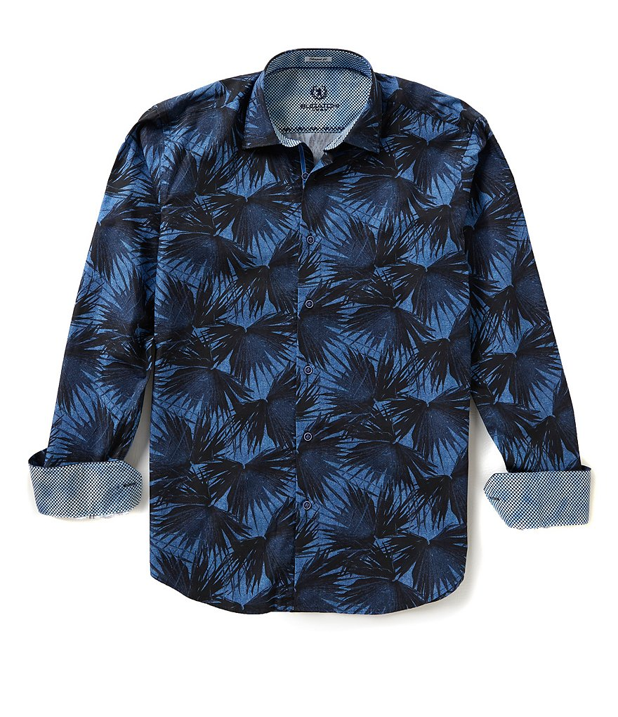 Bugatchi Long-Sleeve Shaped-Fit Repeating Palm Tree Print Woven Shirt