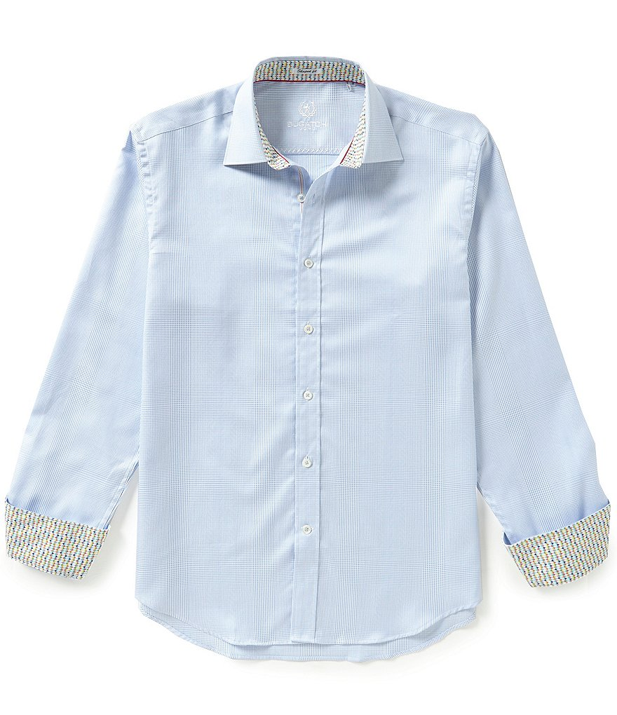 Bugatchi Long-Sleeve Shaped-Fit Plaid Woven Shirt