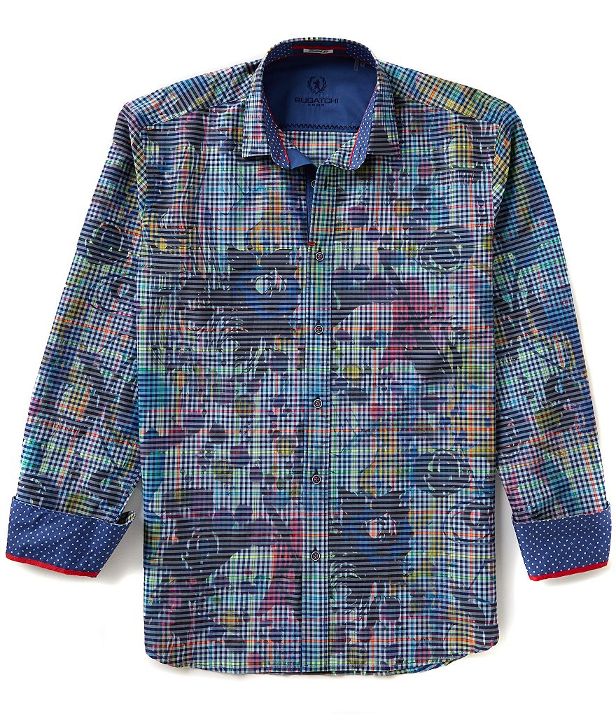 Bugatchi Long-Sleeve Shaped-Fit Woven Repeating Plaid/Floral Print Shirt