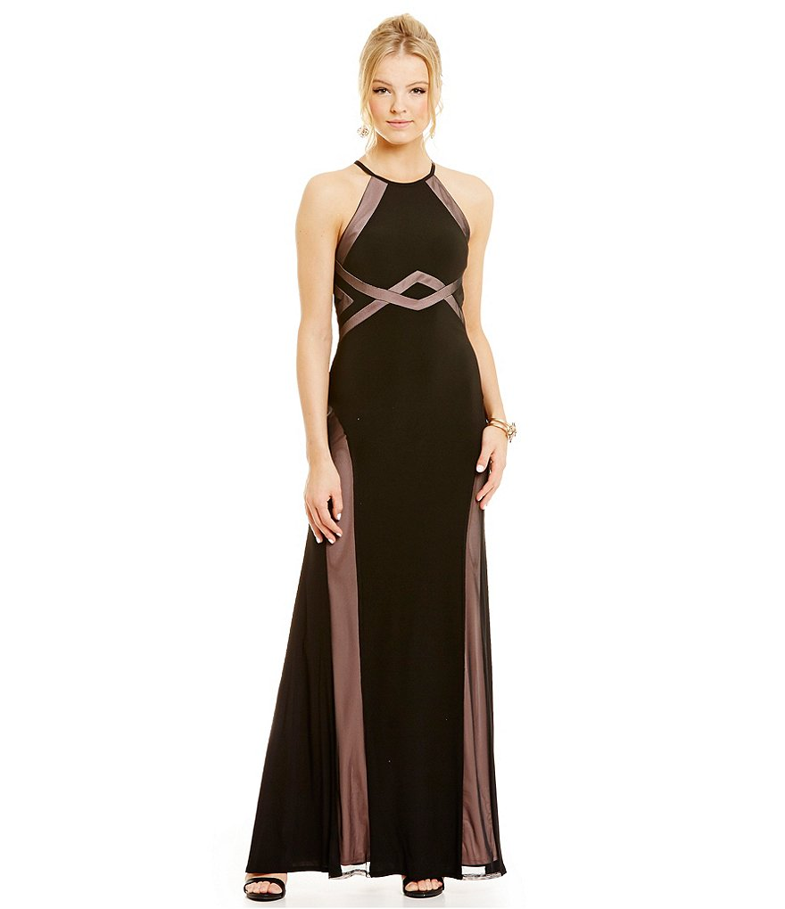 Morgan & Co. Illusion Insets Halter Neckline Gown
