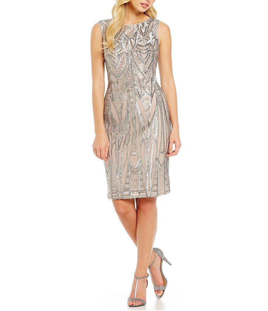 Calvin Klein Art Deco Sequin Cocktail Dress