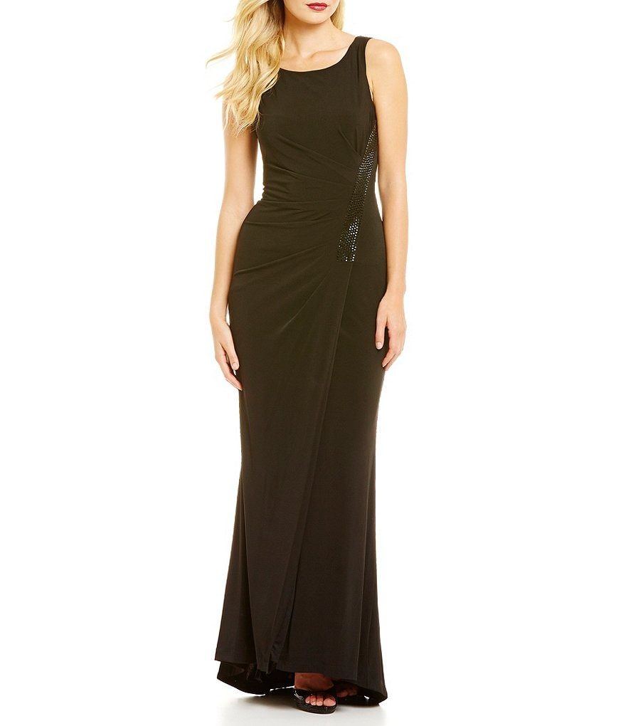 Calvin Klein Drape Back Sequin Side Gown