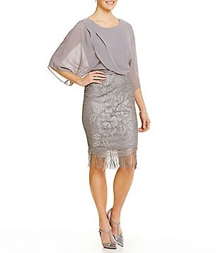 S.L. Fashions Metallic Floral-Embroidered Fringe Blouson Dress