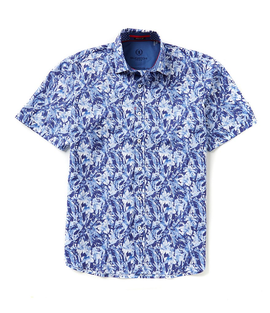 Bugatchi Short-Sleeve Classic-Fit Floral-Print Woven Shirt