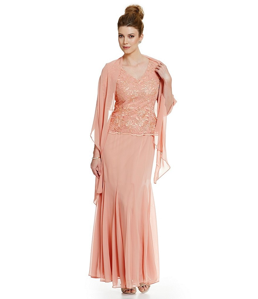 Alex Evenings V-Neck Embroidered Lace Mock Gown