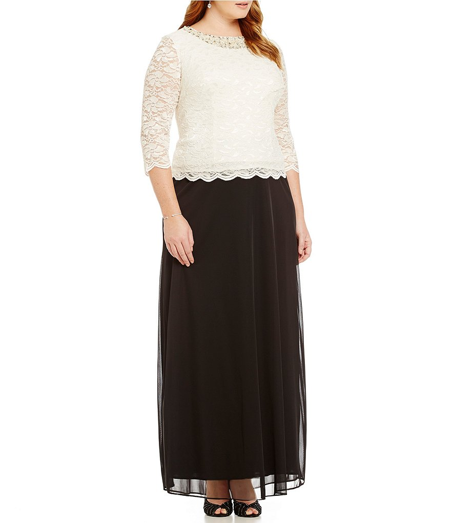 Alex Evenings Plus Lace Embellished-Neck Gown