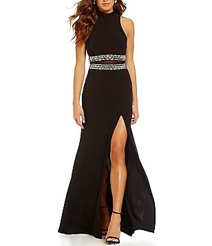 B. Darlin High Mock Neckline Cut Out Illusion Waist Gown