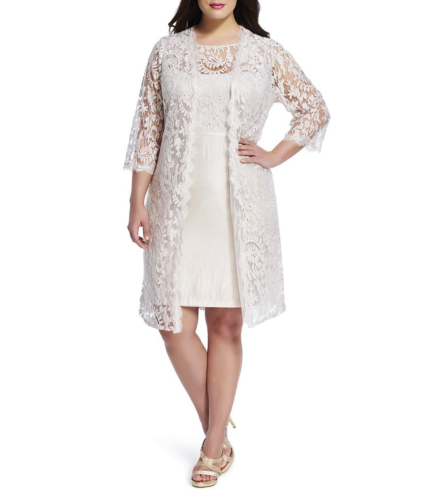 Adrianna Papell Plus 2-Piece Lace Jacket Dress