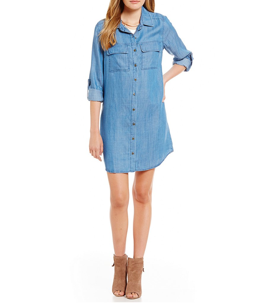 Skies Are Blue Denim Shirt Dress