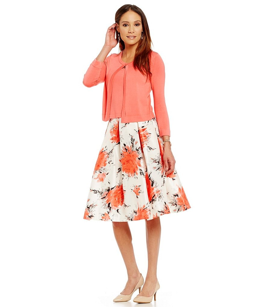 Jessica Howard Sweater Floral-Print Skirt Set