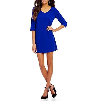 Skies Are Blue V-Neck Shift Dress