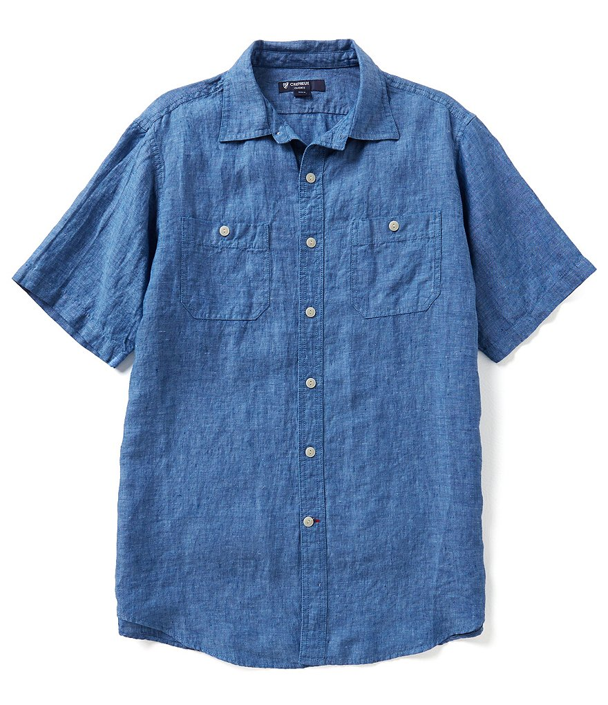 Cremieux Short-Sleeve Solid Linen Hunter Woven Shirt