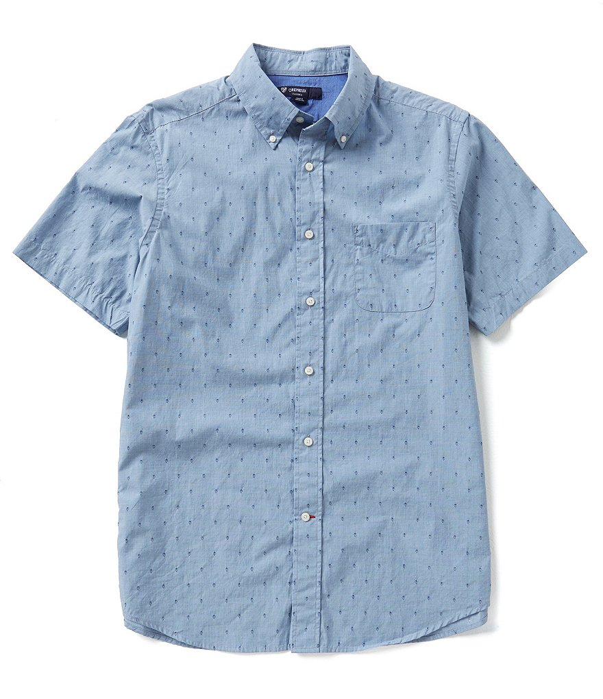 Cremieux Short-Sleeve Reepating Skull Print Woven Shirt