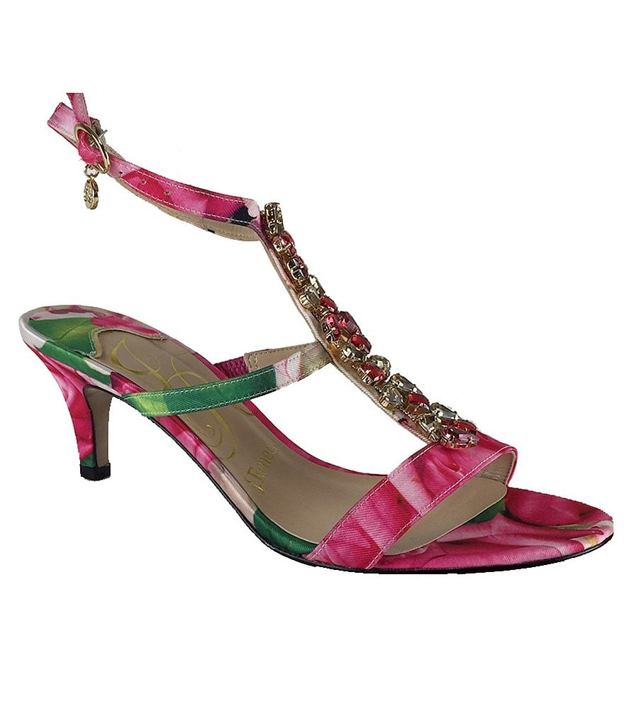 J. Renee Maricel Floral Jeweled Sandals