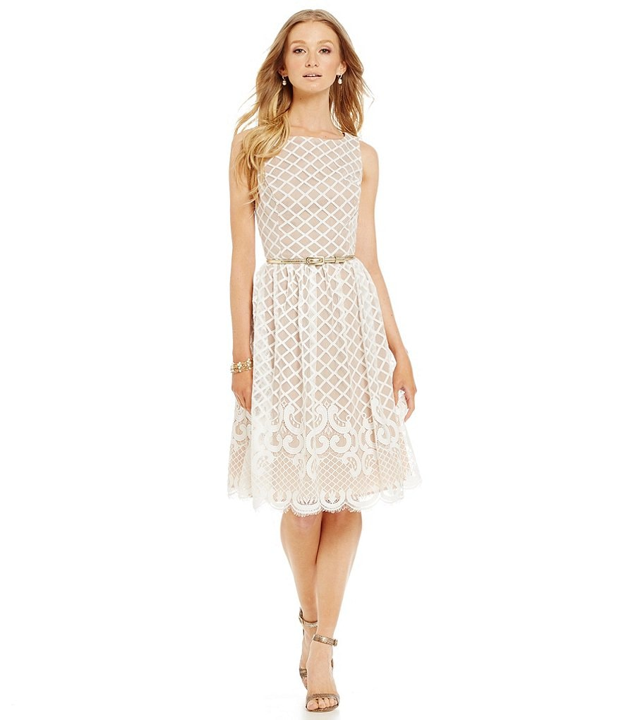 eliza j belted lace fit and flare dress dillards