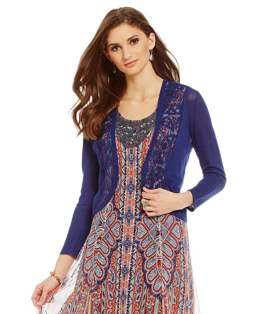 Reba New Horizons Giovanna Embroidered Inset-Lace Cardigan